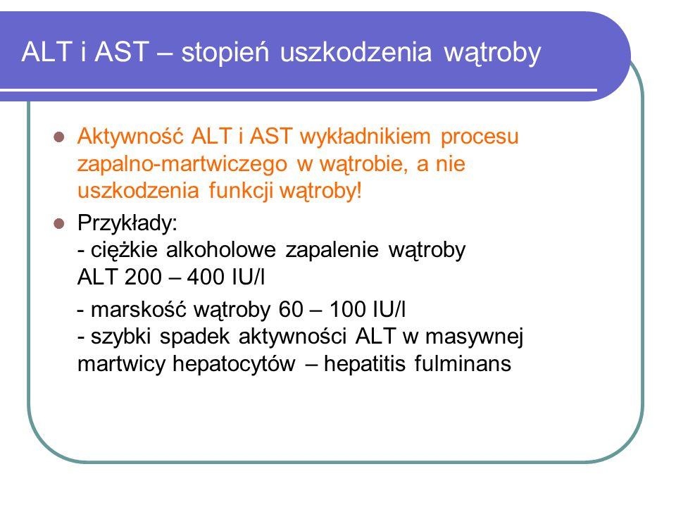 ALT i AST – stopień uszkodzenia wątroby Aktywność ALT i AST wykładnikiem procesu zapalno-martwiczego w wątrobie, a nie uszkodzenia funkcji wątroby! Pr