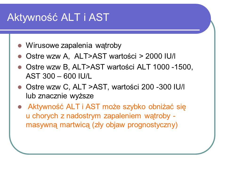 Aktywność ALT i AST Wirusowe zapalenia wątroby Ostre wzw A, ALT>AST wartości > 2000 IU/l Ostre wzw B, ALT>AST wartości ALT 1000 -1500, AST 300 – 600 I