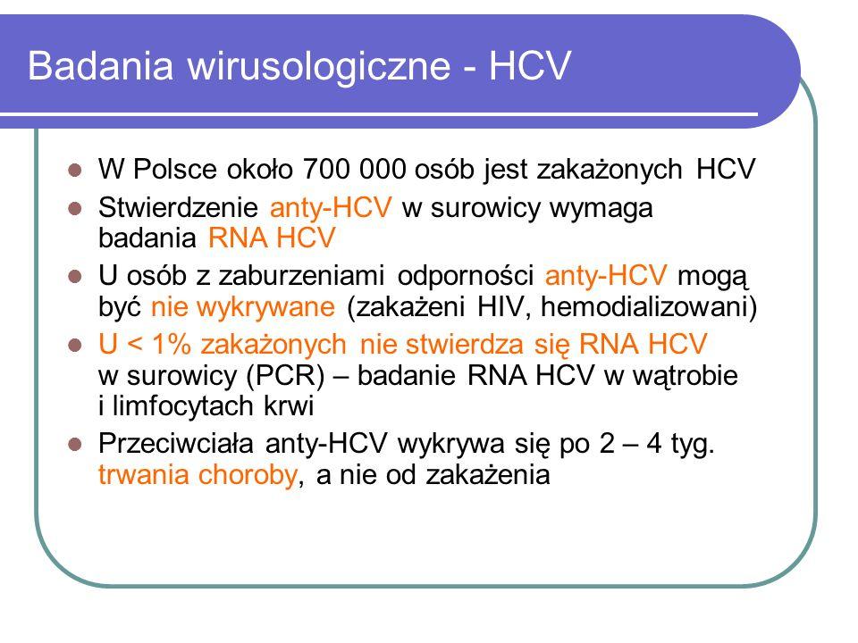 Badania wirusologiczne - HCV W Polsce około 700 000 osób jest zakażonych HCV Stwierdzenie anty-HCV w surowicy wymaga badania RNA HCV U osób z zaburzen