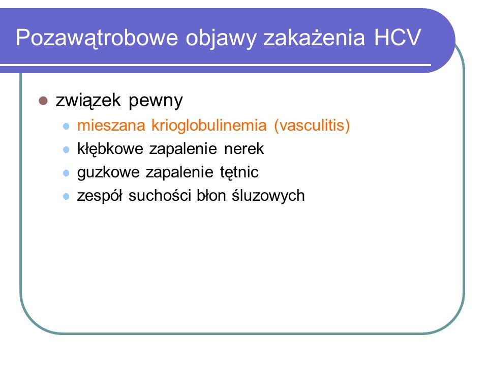 Pozawątrobowe objawy zakażenia HCV związek pewny mieszana krioglobulinemia (vasculitis) kłębkowe zapalenie nerek guzkowe zapalenie tętnic zespół sucho
