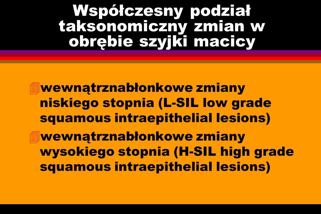 Współczesny podział taksonomiczny zmian w obrębie szyjki macicy 4wewnątrznabłonkowe zmiany niskiego stopnia (L-SIL low grade squamous intraepithelial