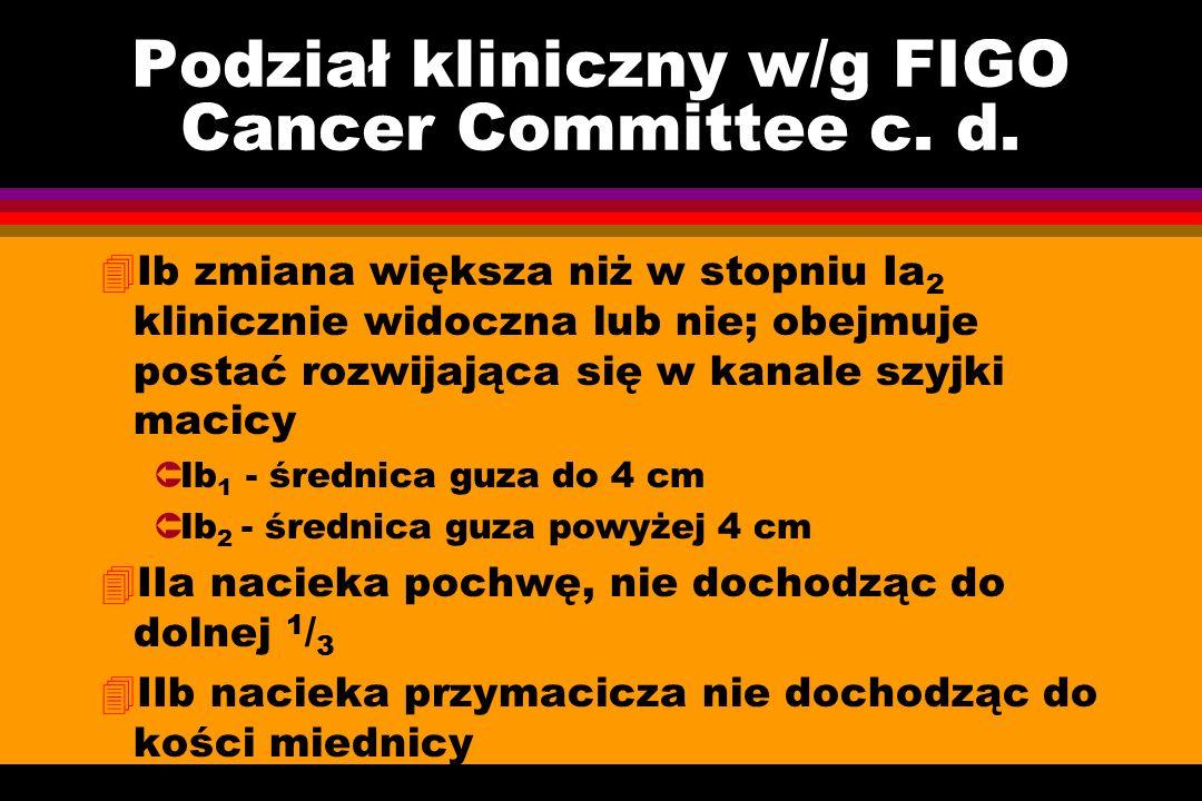 Podział kliniczny w/g FIGO Cancer Committee c. d. 4Ib zmiana większa niż w stopniu Ia 2 klinicznie widoczna lub nie; obejmuje postać rozwijająca się w