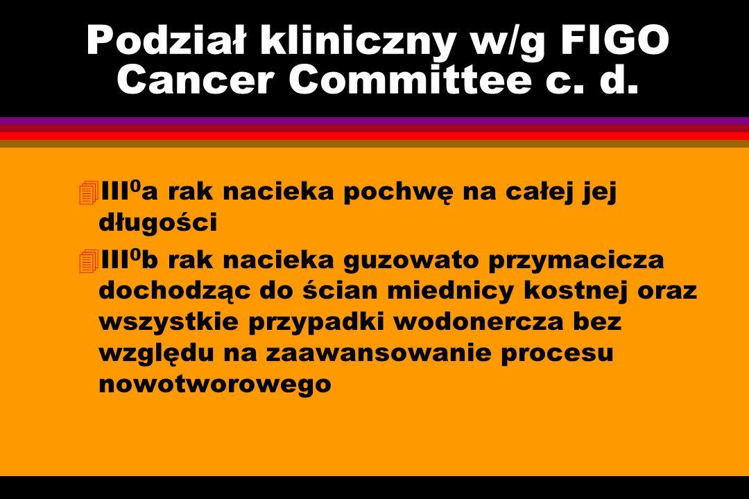 Podział kliniczny w/g FIGO Cancer Committee c. d. 4III 0 a rak nacieka pochwę na całej jej długości 4III 0 b rak nacieka guzowato przymacicza dochodzą