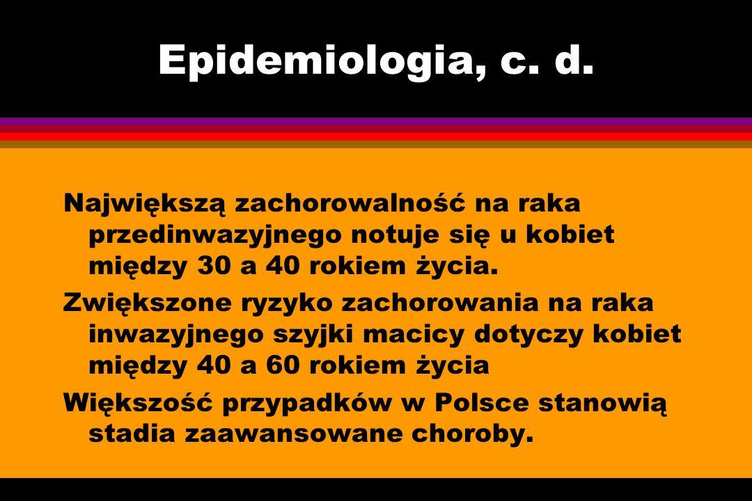 Epidemiologia, c. d. Największą zachorowalność na raka przedinwazyjnego notuje się u kobiet między 30 a 40 rokiem życia. Zwiększone ryzyko zachorowani