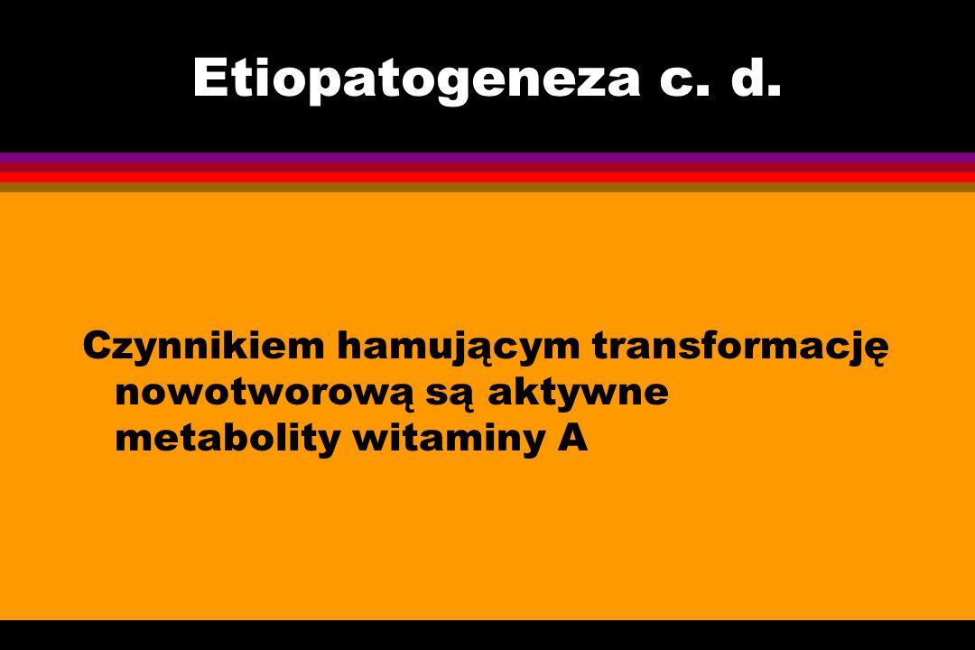 Etiopatogeneza c. d. Czynnikiem hamującym transformację nowotworową są aktywne metabolity witaminy A