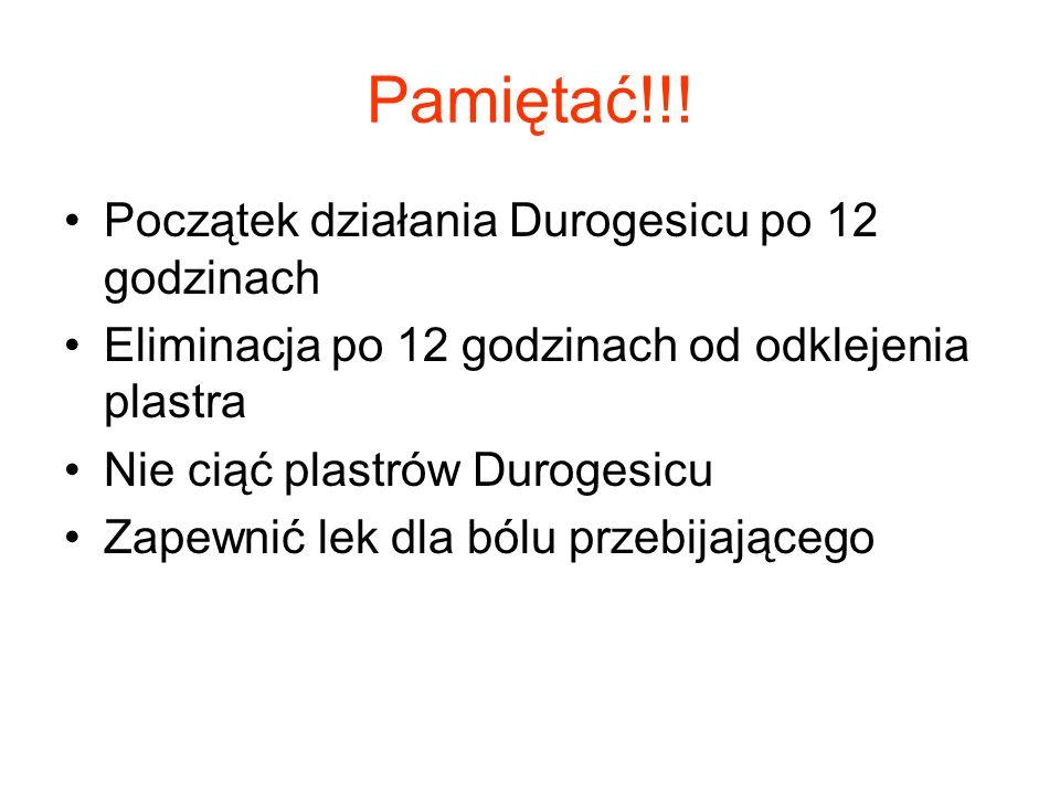 Pamiętać!!! Początek działania Durogesicu po 12 godzinach Eliminacja po 12 godzinach od odklejenia plastra Nie ciąć plastrów Durogesicu Zapewnić lek d