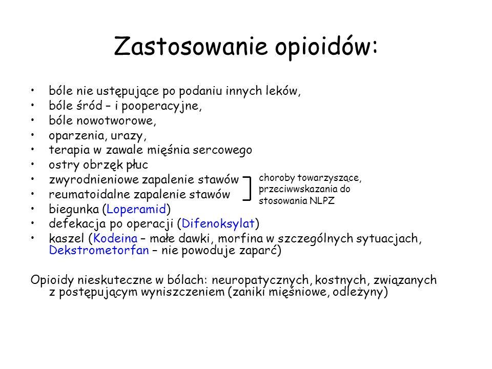 Zastosowanie opioidów: bóle nie ustępujące po podaniu innych leków, bóle śród – i pooperacyjne, bóle nowotworowe, oparzenia, urazy, terapia w zawale mięśnia sercowego ostry obrzęk płuc zwyrodnieniowe zapalenie stawów reumatoidalne zapalenie stawów biegunka (Loperamid) defekacja po operacji (Difenoksylat) kaszel (Kodeina – małe dawki, morfina w szczególnych sytuacjach, Dekstrometorfan – nie powoduje zaparć) Opioidy nieskuteczne w bólach: neuropatycznych, kostnych, związanych z postępującym wyniszczeniem (zaniki mięśniowe, odleżyny) choroby towarzyszące, przeciwwskazania do stosowania NLPZ