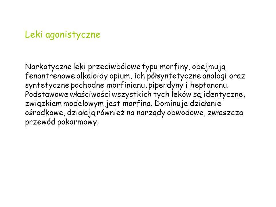 Leki agonistyczne Narkotyczne leki przeciwbólowe typu morfiny, obejmują fenantrenowe alkaloidy opium, ich półsyntetyczne analogi oraz syntetyczne pochodne morfinianu, piperdyny i heptanonu.