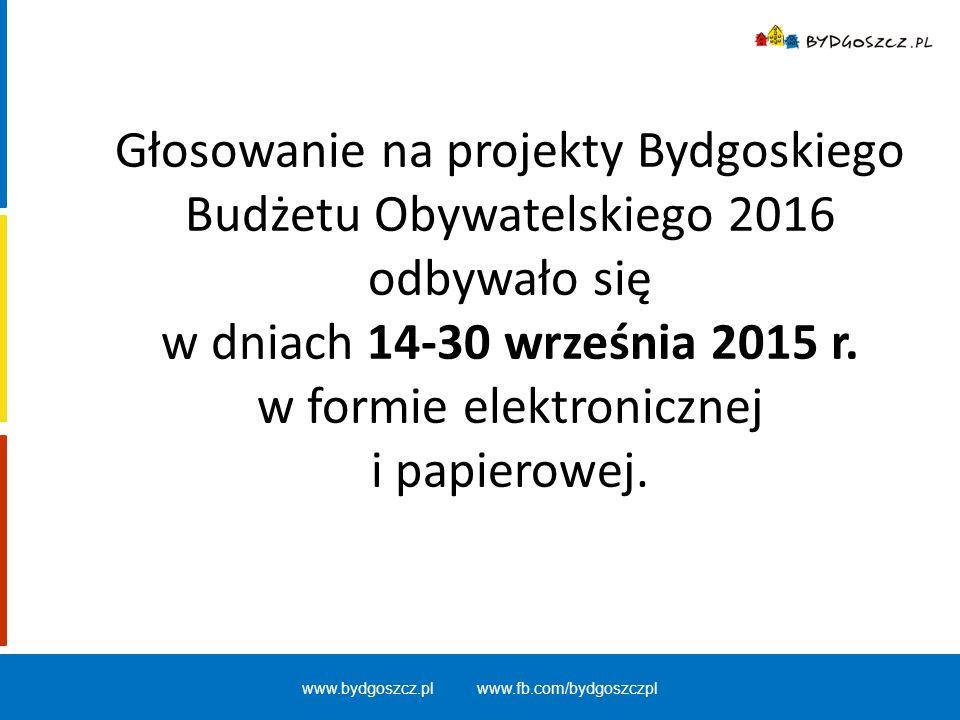 Głosowanie na projekty Bydgoskiego Budżetu Obywatelskiego 2016 odbywało się w dniach 14-30 września 2015 r. w formie elektronicznej i papierowej. www.