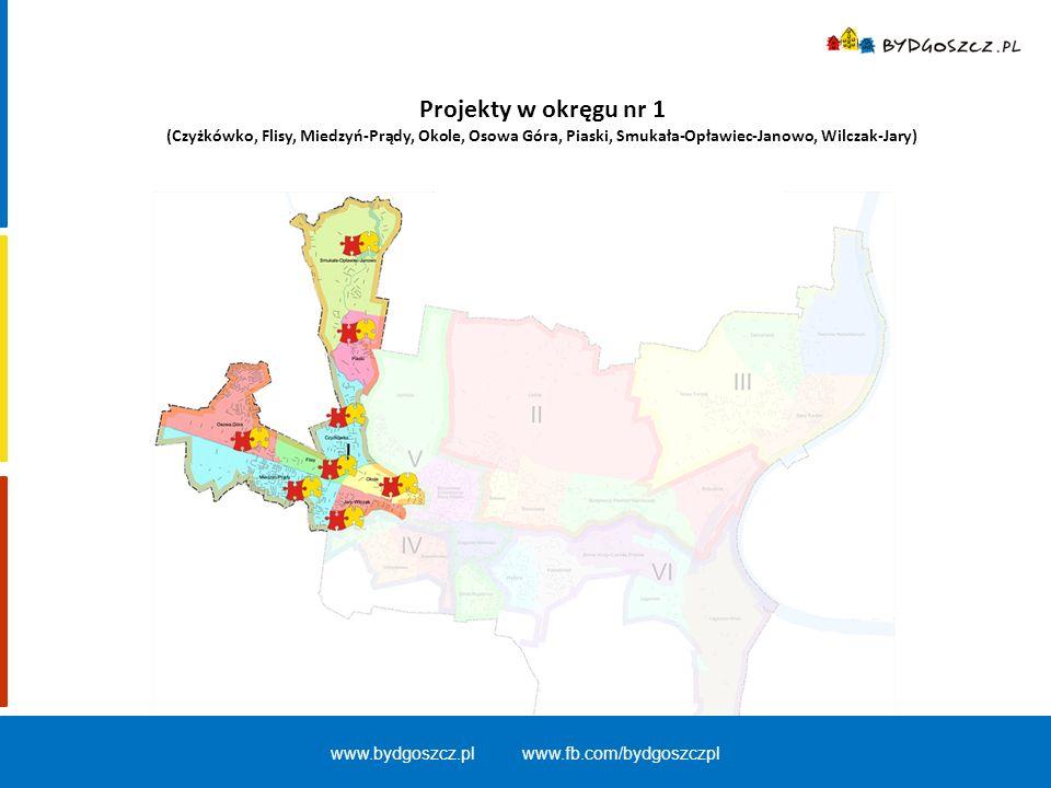 Projekty w okręgu nr 1 (Czyżkówko, Flisy, Miedzyń-Prądy, Okole, Osowa Góra, Piaski, Smukała-Opławiec-Janowo, Wilczak-Jary) www.bydgoszcz.pl www.fb.com
