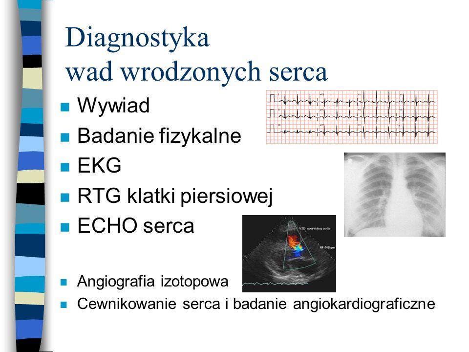 Diagnostyka wad wrodzonych serca n Wywiad n Badanie fizykalne n EKG n RTG klatki piersiowej n ECHO serca n Angiografia izotopowa n Cewnikowanie serca
