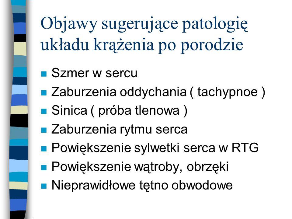 Objawy sugerujące patologię układu krążenia po porodzie n Szmer w sercu n Zaburzenia oddychania ( tachypnoe ) n Sinica ( próba tlenowa ) n Zaburzenia