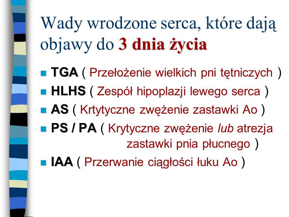 między 4 a 14 dniem życia Wady wrodzone serca, które dają objawy między 4 a 14 dniem życia n TOF n TOF ( Tetralogia Fallota ) n PS / PA n TGA + VSD + PS n CoAo n CoAo ( Koarktacja aorty )