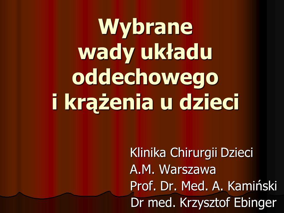 Wybrane wady układu oddechowego i krążenia u dzieci Klinika Chirurgii Dzieci Klinika Chirurgii Dzieci A.M. Warszawa A.M. Warszawa Prof. Dr. Med. A. Ka