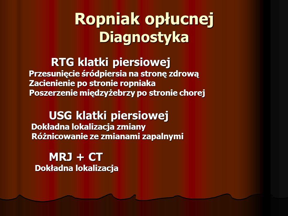 Ropniak opłucnej Diagnostyka RTG klatki piersiowej RTG klatki piersiowej Przesunięcie śródpiersia na stronę zdrową Przesunięcie śródpiersia na stronę zdrową Zacienienie po stronie ropniaka Zacienienie po stronie ropniaka Poszerzenie międzyżebrzy po stronie chorej Poszerzenie międzyżebrzy po stronie chorej USG klatki piersiowej USG klatki piersiowej Dokładna lokalizacja zmiany Dokładna lokalizacja zmiany Różnicowanie ze zmianami zapalnymi Różnicowanie ze zmianami zapalnymi MRJ + CT MRJ + CT Dokładna lokalizacja Dokładna lokalizacja