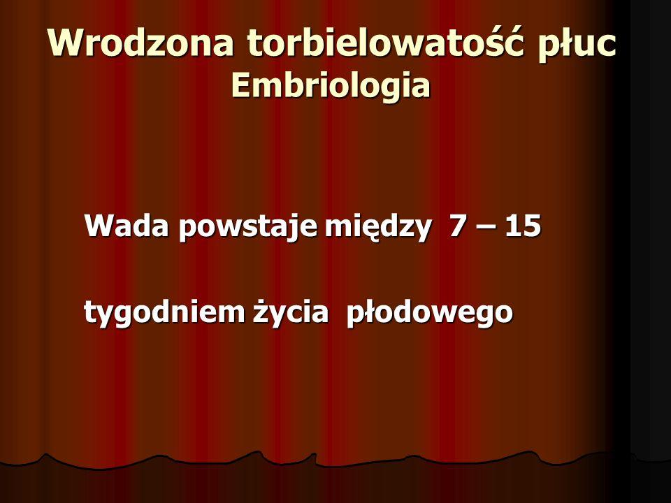 Wrodzona torbielowatość płuc Embriologia Wada powstaje między 7 – 15 Wada powstaje między 7 – 15 tygodniem życia płodowego tygodniem życia płodowego