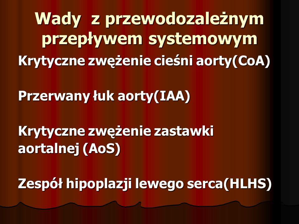 Wady z przewodozależnym przepływem systemowym Krytyczne zwężenie cieśni aorty(CoA) Przerwany łuk aorty(IAA) Krytyczne zwężenie zastawki aortalnej (AoS) Zespół hipoplazji lewego serca(HLHS)
