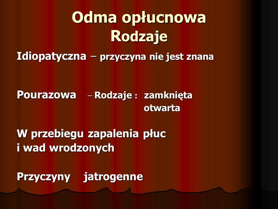 Odma opłucnowa R odzaje Idiopatyczna – przyczyna nie jest znana Pourazowa – Rodzaje : zamknięta otwarta otwarta W przebiegu zapalenia płuc i wad wrodz