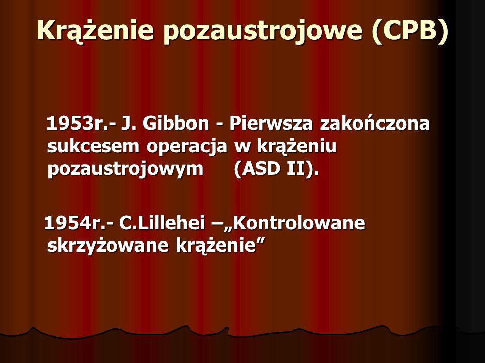 Krążenie pozaustrojowe (CPB) 1953r.- J. Gibbon - Pierwsza zakończona sukcesem operacja w krążeniu pozaustrojowym (ASD II). 1953r.- J. Gibbon - Pierwsz