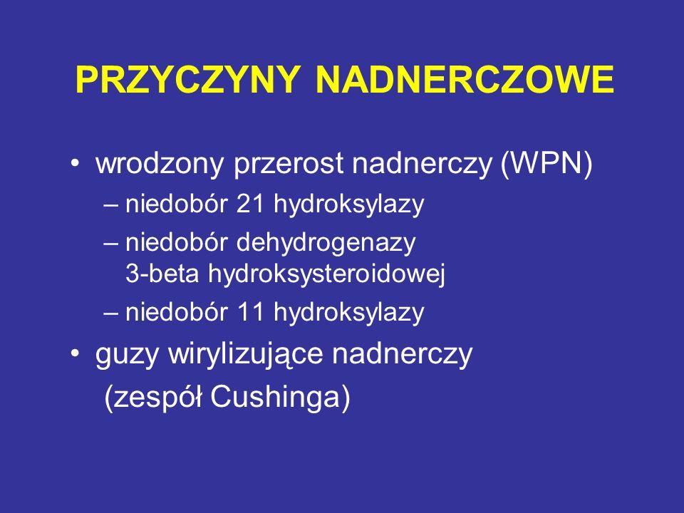 PRZYCZYNY NADNERCZOWE wrodzony przerost nadnerczy (WPN) –niedobór 21 hydroksylazy –niedobór dehydrogenazy 3-beta hydroksysteroidowej –niedobór 11 hydr