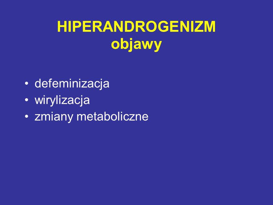 Kryteria diagnostyczne (2 z 3) (Rotterdam 2003) brak jajeczkowania lub rzadkie jajeczkowanie kliniczne i/lub biochemiczne cechy hiperandrogenizmu wielotorbielowate jajniki i wykluczenie innych zaburzeń (wrodzony przerost nadnerczy, guzy produkujące androgeny, zespół Cushinga, hypotyreoza, hiperprolaktynemia)
