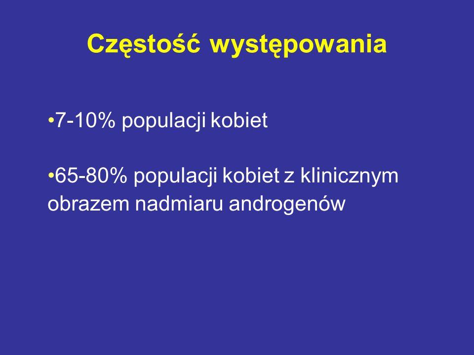 Częstość występowania 7-10% populacji kobiet 65-80% populacji kobiet z klinicznym obrazem nadmiaru androgenów
