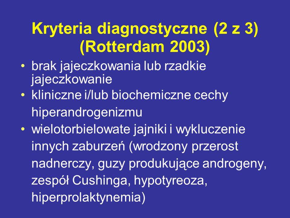 Kryteria diagnostyczne (2 z 3) (Rotterdam 2003) brak jajeczkowania lub rzadkie jajeczkowanie kliniczne i/lub biochemiczne cechy hiperandrogenizmu wiel