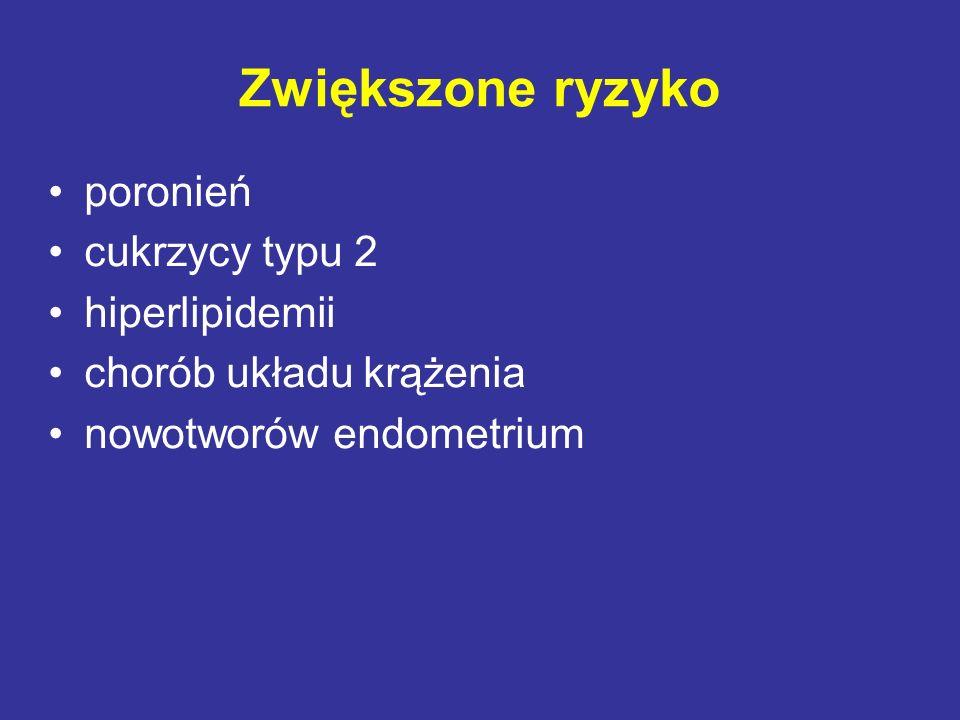Zwiększone ryzyko poronień cukrzycy typu 2 hiperlipidemii chorób układu krążenia nowotworów endometrium