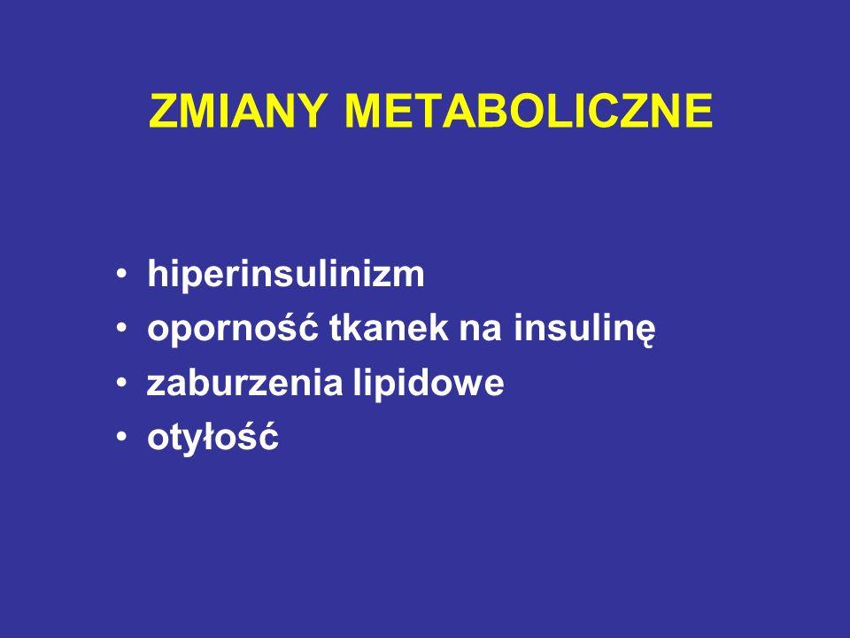 ZMIANY METABOLICZNE hiperinsulinizm oporność tkanek na insulinę zaburzenia lipidowe otyłość