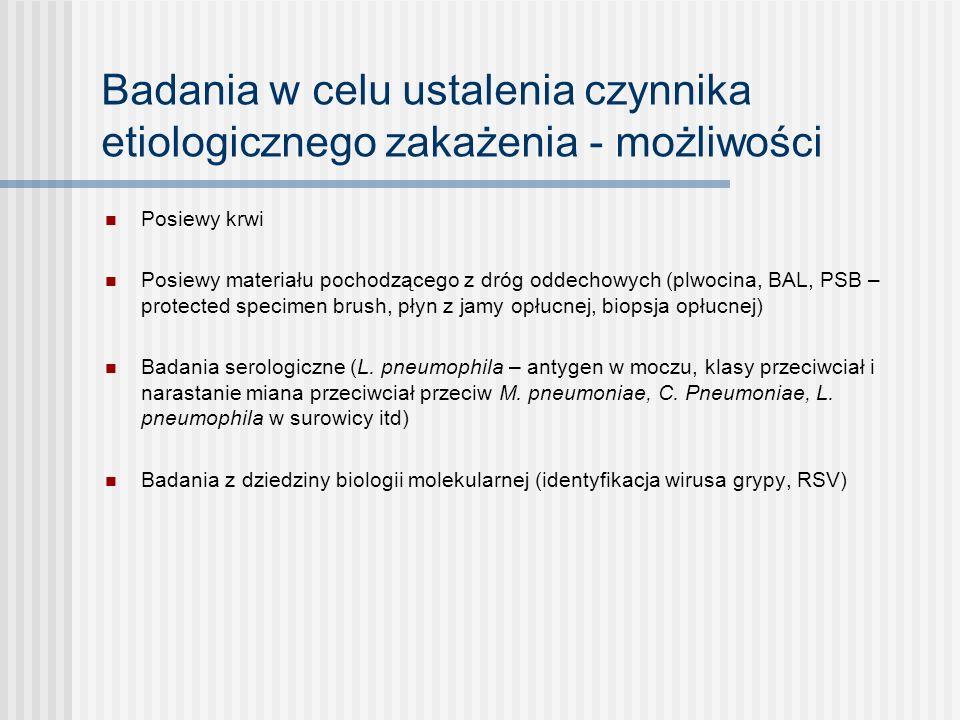 Leki stosowane zakażeniach dolnych dróg oddechowych Objawowe - NLPZ/ paracetamol - wykrztuśne, mukolityki - przeciwkaszlowe (rzadko i wybranych przypadkach!) Przyczynowe - antybiotyki - leki przeciwwirusowe - leki przeciwgrzybicze Inne (w zależności od ciężkości zakażenia, chorób współistniejących) - tlen - leki bronchodilatacyjne - glikokortykosteroidy - heparyna drobnocząsteczkowa w wyspecjalizowanych oddziałach lecznictwa zamkniętego