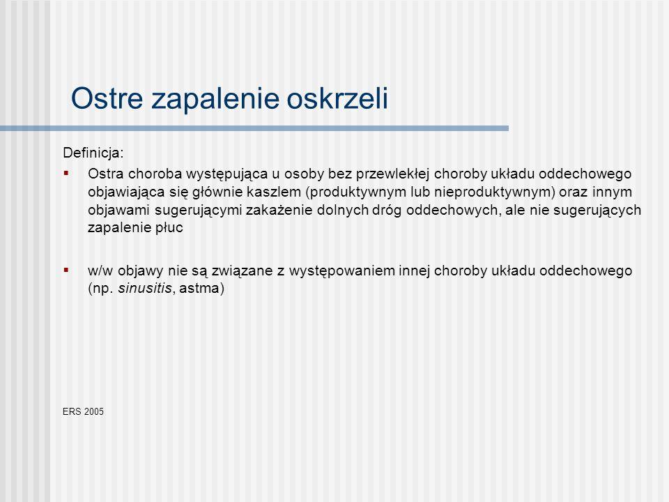 objawy sugerujące zapalenie płuc (poza obecnością kaszlu): - zmiany osłuchowe o ograniczonej lokalizacji - gorączka > 4 dni - duszność/ tachypnoe potwierdzeniem rozpoznania jest obecność zmian zapalnych w radiogramie klp charakterystyczne stężenie CRP w surowicy > 50mg/L u osób starszych, osób z przewlekłymi chorobami układu krążenia i układu oddechowego oraz z upośledzeniem odporności przebieg oraz objawy kliniczne mogą być nietypowe.