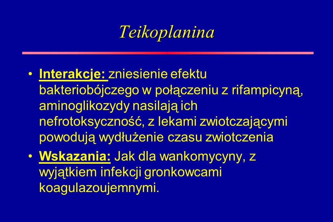 Teikoplanina Interakcje: zniesienie efektu bakteriobójczego w połączeniu z rifampicyną, aminoglikozydy nasilają ich nefrotoksyczność, z lekami zwiotcz