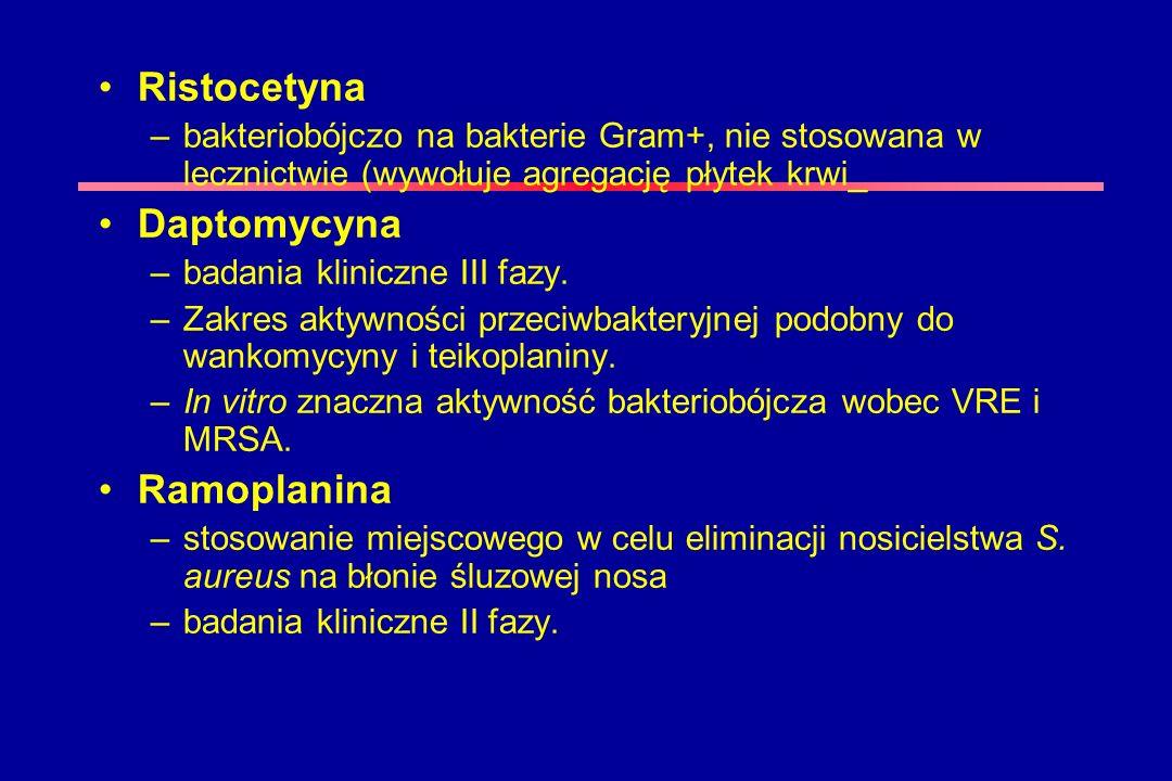 Ristocetyna –bakteriobójczo na bakterie Gram+, nie stosowana w lecznictwie (wywołuje agregację płytek krwi_ Daptomycyna –badania kliniczne III fazy. –