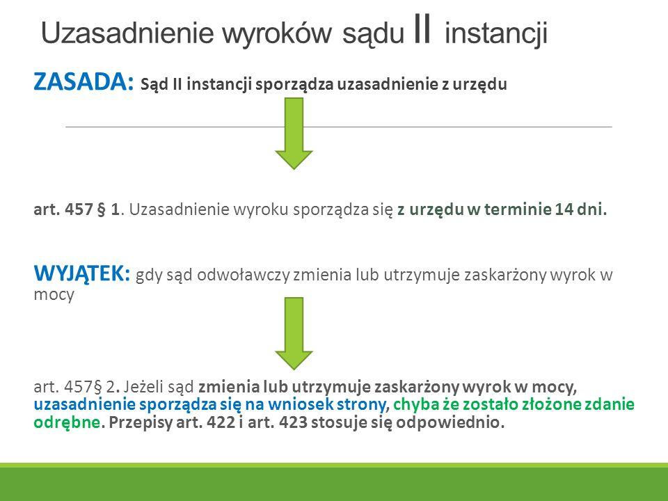 Uzasadnienie wyroków sądu II instancji ZASADA: Sąd II instancji sporządza uzasadnienie z urzędu art.