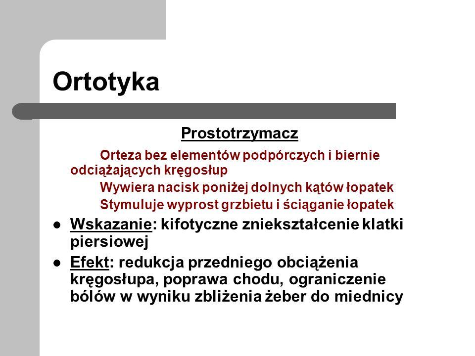 Ortotyka Prostotrzymacz Orteza bez elementów podpórczych i biernie odciążających kręgosłup Wywiera nacisk poniżej dolnych kątów łopatek Stymuluje wypr