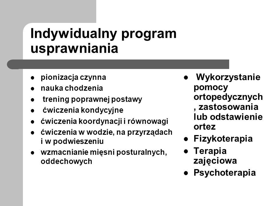 Indywidualny program usprawniania pionizacja czynna nauka chodzenia trening poprawnej postawy ćwiczenia kondycyjne ćwiczenia koordynacji i równowagi ć