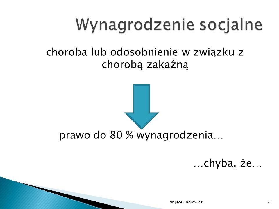 choroba lub odosobnienie w związku z chorobą zakaźną prawo do 80 % wynagrodzenia… …chyba, że… dr Jacek Borowicz21