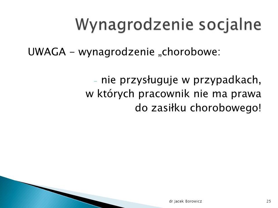 """UWAGA - wynagrodzenie """"chorobowe: - nie przysługuje w przypadkach, w których pracownik nie ma prawa do zasiłku chorobowego."""