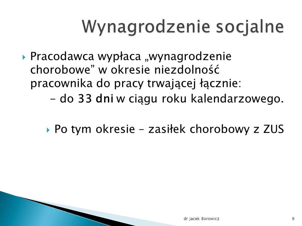 """Wysokość """"wynagrodzenia chorobowego dr Jacek Borowicz20"""