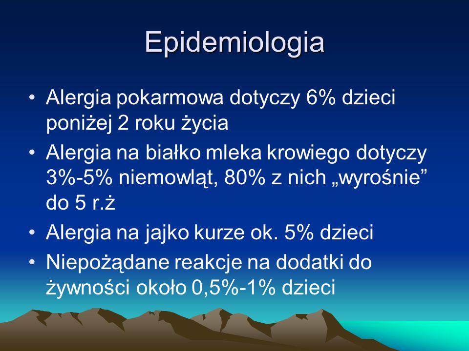 """Epidemiologia Alergia pokarmowa dotyczy 6% dzieci poniżej 2 roku życia Alergia na białko mleka krowiego dotyczy 3%-5% niemowląt, 80% z nich """"wyrośnie"""""""