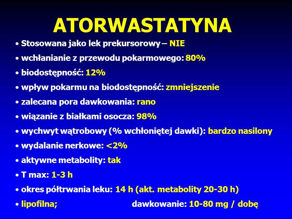 Statyny - klasyfikacja STATYNY: NATURALNE (lowastatyna, prawastatyna, simwastatyna) SYNTETYCZNE (atorwastatyna, ceriwastatyna, fluwastatyna, rosuwasta