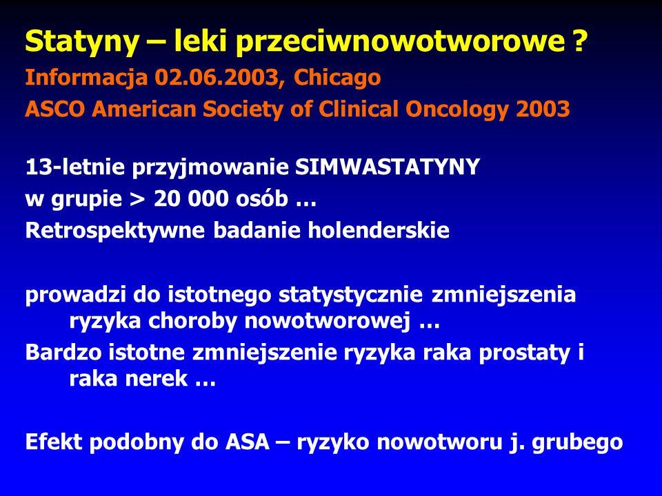 Filipiak KJ, Niewada M, Pol Przegl Kardiol 2000; 2: 68 Stabilizacja blaszki miażdżycowej Zapobieganie odrzuceniom przeszczepów ? Prewencja choroby Alz