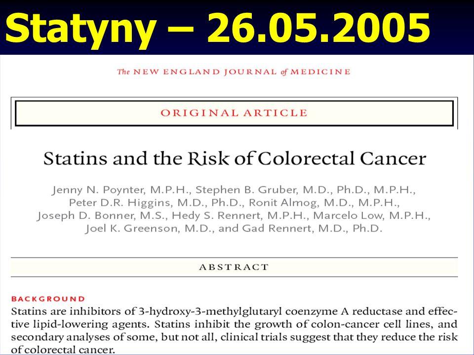 Statyny – leki przeciwnowotworowe ? Informacja 02.06.2003, Chicago ASCO American Society of Clinical Oncology 2003 13-letnie przyjmowanie SIMWASTATYNY