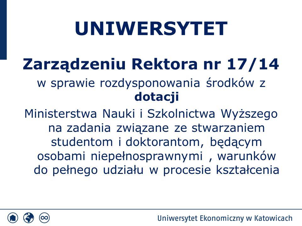 UNIWERSYTET Zarządzeniu Rektora nr 17/14 w sprawie rozdysponowania środków z dotacji Ministerstwa Nauki i Szkolnictwa Wyższego na zadania związane ze