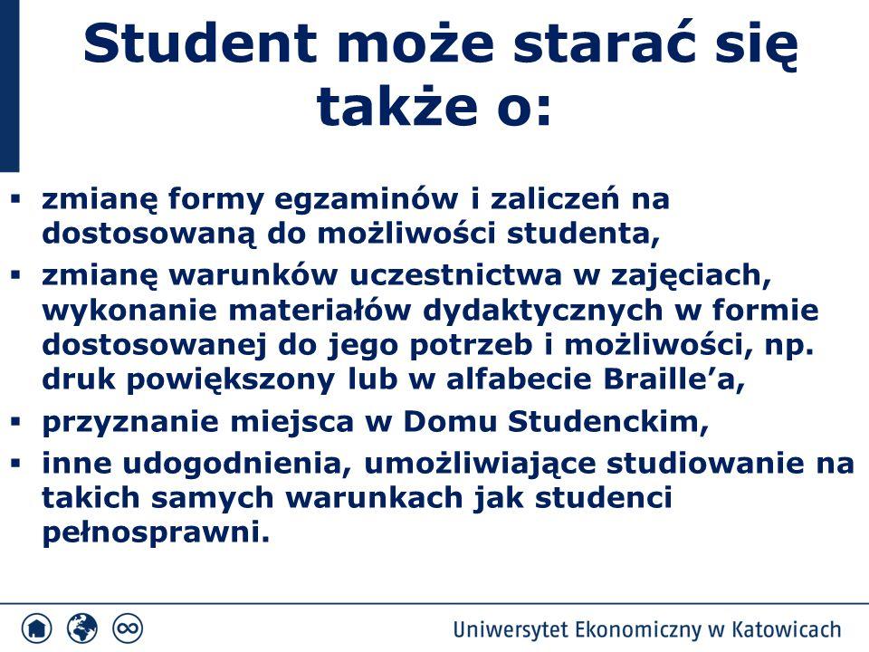 Student może starać się także o:  zmianę formy egzaminów i zaliczeń na dostosowaną do możliwości studenta,  zmianę warunków uczestnictwa w zajęciach, wykonanie materiałów dydaktycznych w formie dostosowanej do jego potrzeb i możliwości, np.
