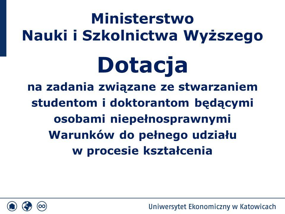 Ministerstwo Nauki i Szkolnictwa Wyższego Dotacja na zadania związane ze stwarzaniem studentom i doktorantom będącymi osobami niepełnosprawnymi Warunków do pełnego udziału w procesie kształcenia