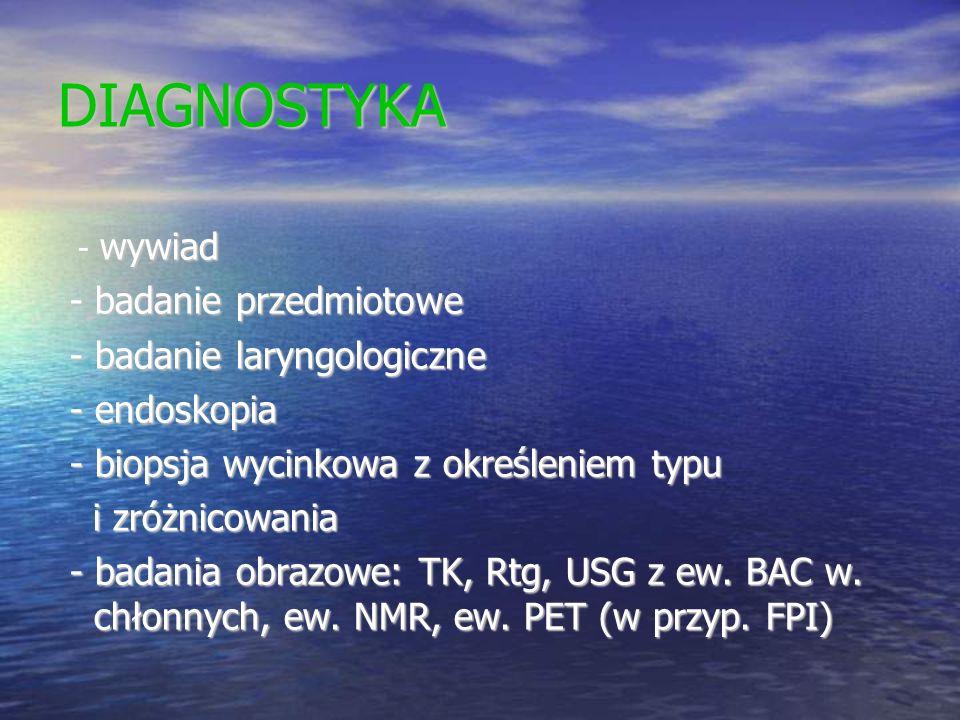 DIAGNOSTYKA - wywiad - wywiad - badanie przedmiotowe - badanie przedmiotowe - badanie laryngologiczne - badanie laryngologiczne - endoskopia - endosko