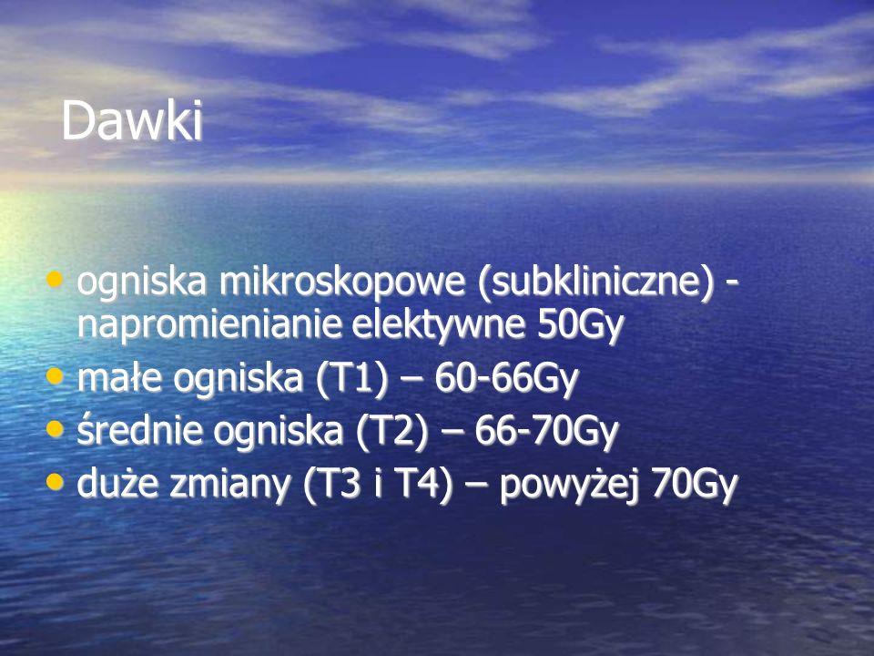 Dawki Dawki ogniska mikroskopowe (subkliniczne) - napromienianie elektywne 50Gy ogniska mikroskopowe (subkliniczne) - napromienianie elektywne 50Gy ma