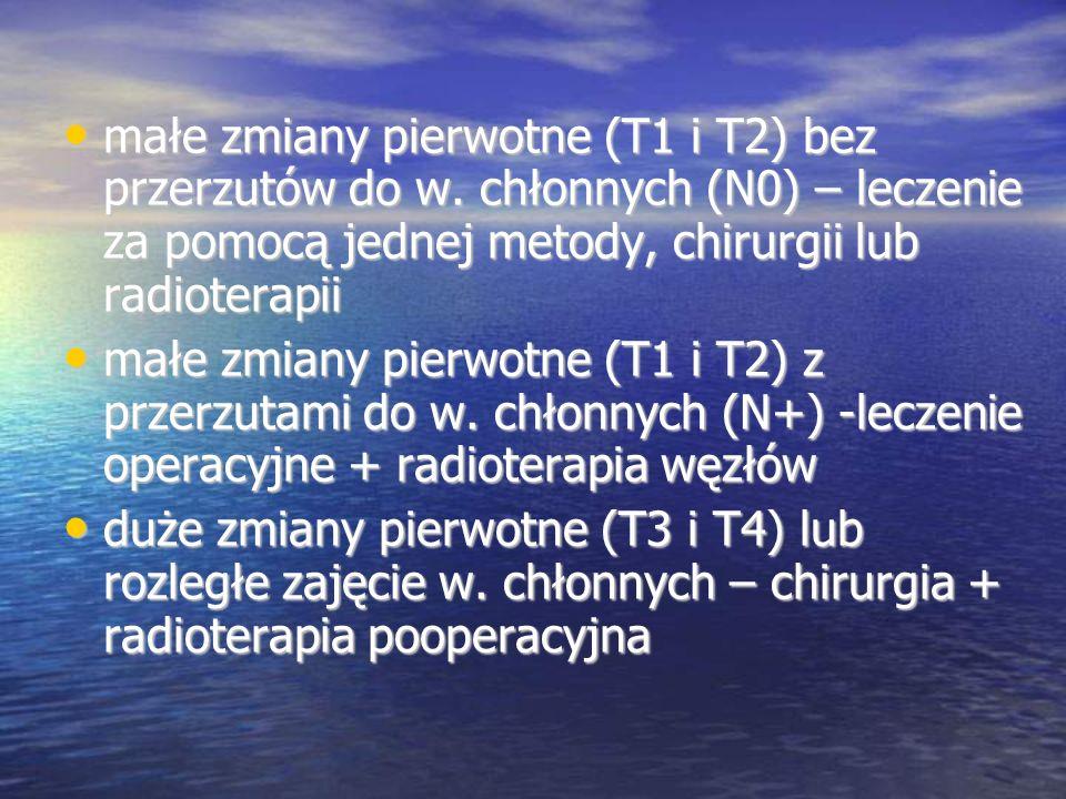 małe zmiany pierwotne (T1 i T2) bez przerzutów do w. chłonnych (N0) – leczenie za pomocą jednej metody, chirurgii lub radioterapii małe zmiany pierwot