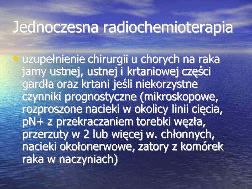 Jednoczesna radiochemioterapia uzupełnienie chirurgii u chorych na raka jamy ustnej, ustnej i krtaniowej części gardła oraz krtani jeśli niekorzystne